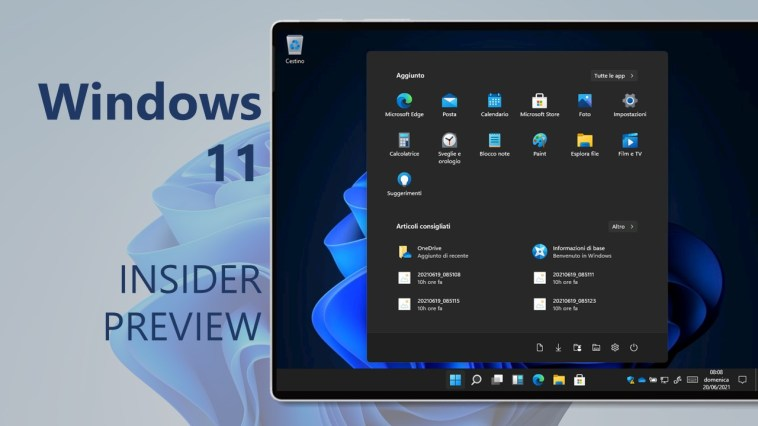 Download e novità di Windows 11 Insider Preview Build 22000.100
