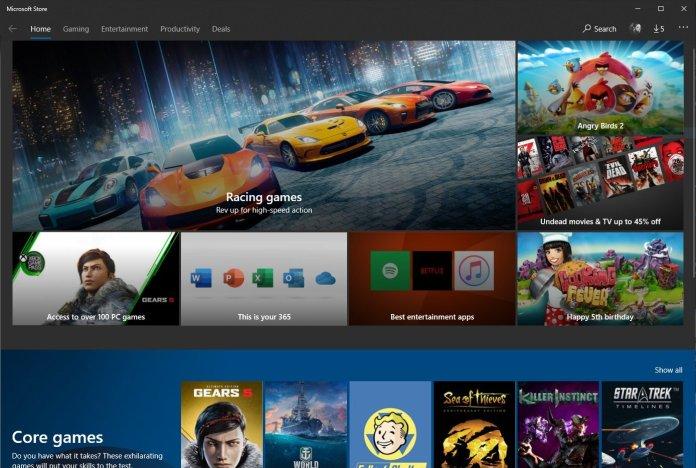 Microsoft Store layout