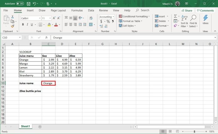 Excel lookup value selection