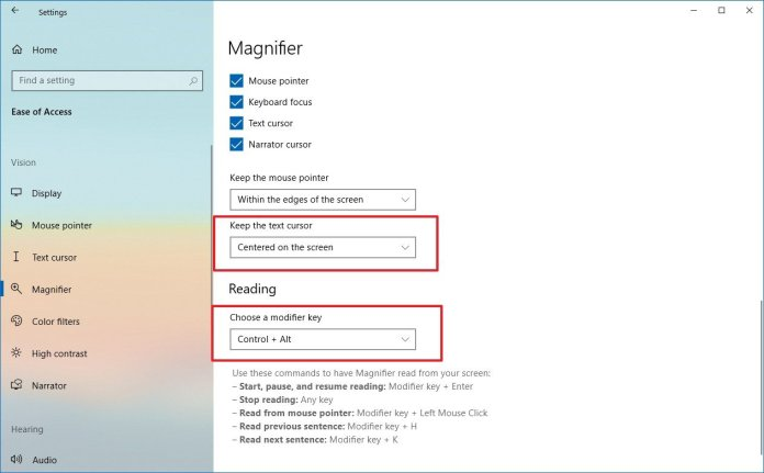Windows 10 Magnifier settings on spring 2020 update