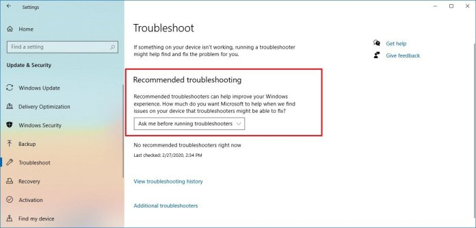 Windows 10 Recommended troubleshooter page