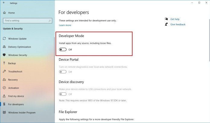Windows 10 For developers settings on version 2004