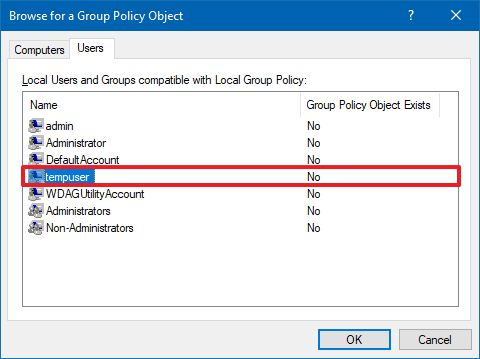 Select user or group to apply custom Group Policy settings