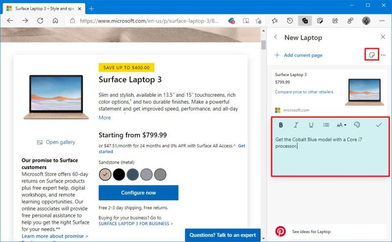 Microsoft Edge collection add note