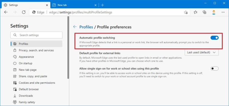 Automatic Profile Switching on Edge