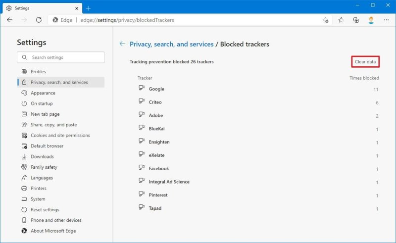Microsoft Edge clear blocked trackers data