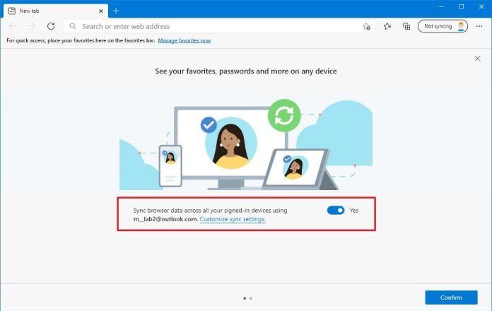 Sync profile data to Microsoft account