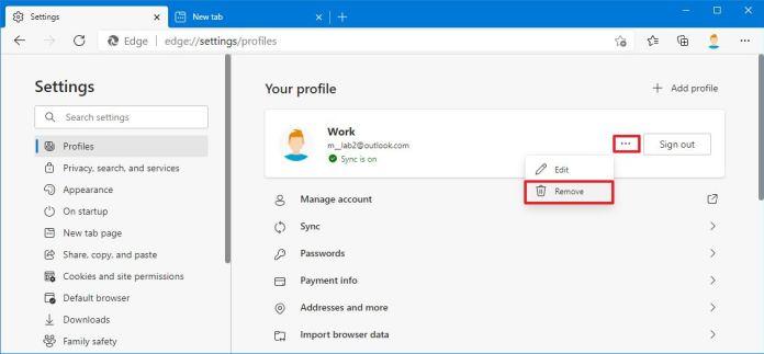 Microsoft Edge delete profile