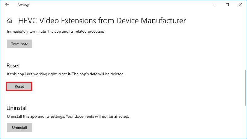 Reset HEVC to fix problems on Windows 10