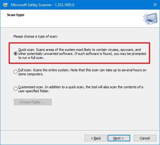 Msert Virus Scan Options