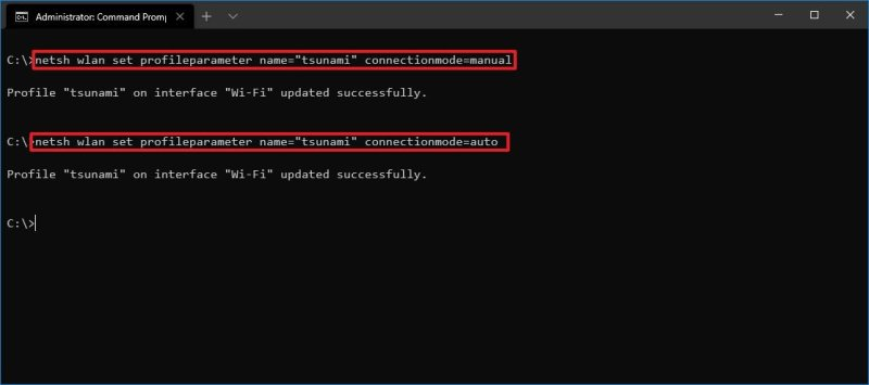 netsh disable automatic Wi-Fi connect