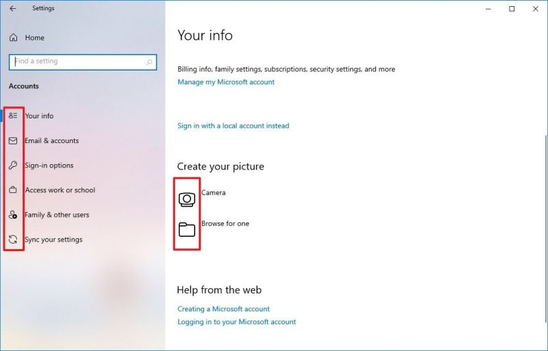 Windows 10 Settings pages new icons