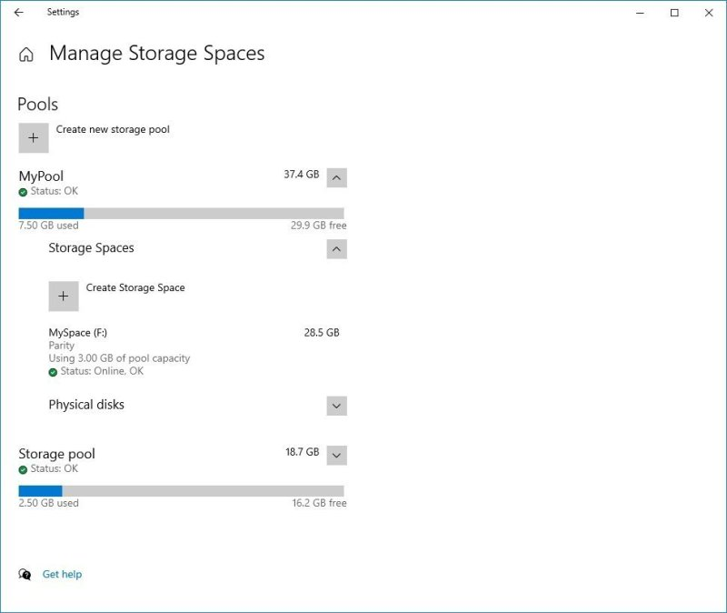 Storage Spaces in the Settings app
