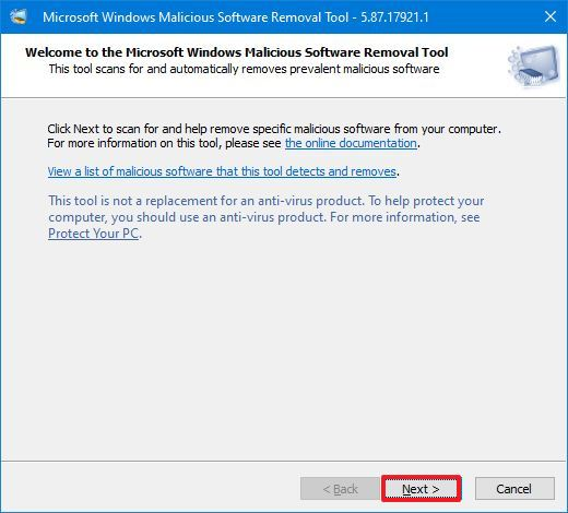 Malicious Software Removal Tool Wizard