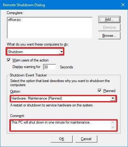 Remote Shutdown Dialog