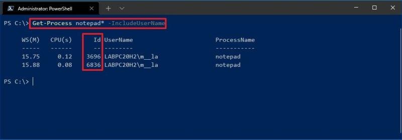 Get-Process IncludeUserName