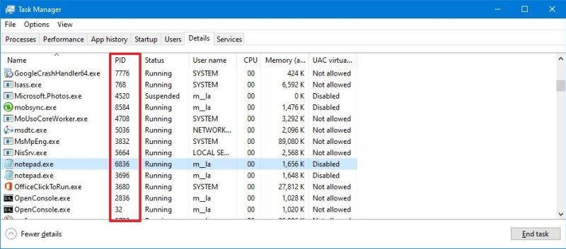 Task Manager Details tab process ID