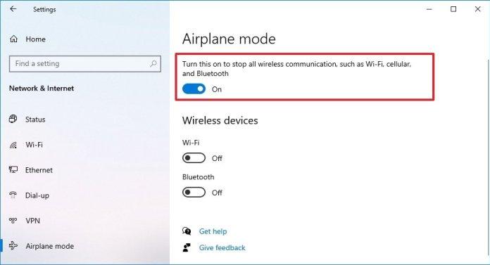 Turn on Airplane mode via Settings