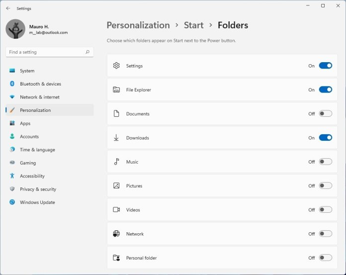 Start menu Folders
