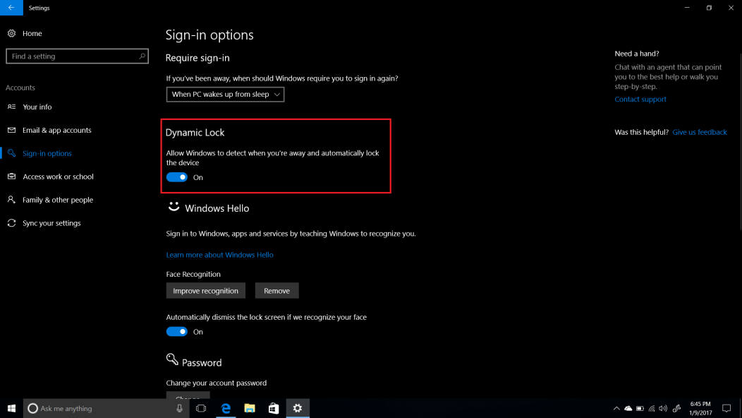 dynamic lock windows 10