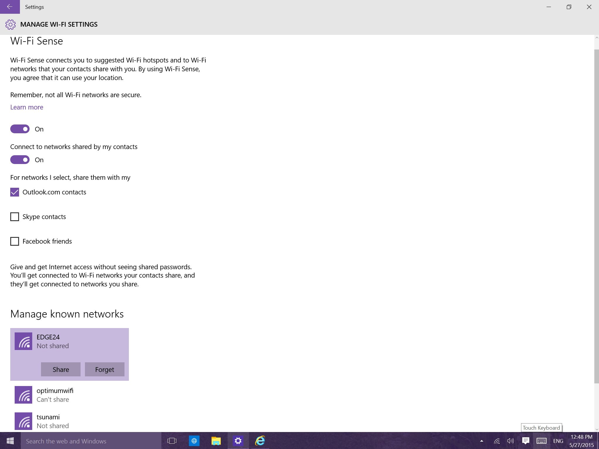 how to forget a network windows 10
