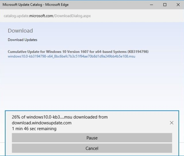 A Pop Up Window Will Appear With A Direct Download Link Click It To Download The Msu File
