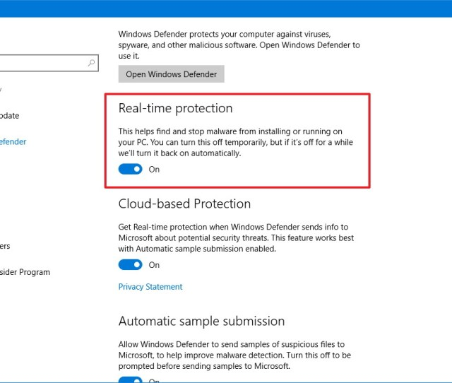 Click On Windows Defender Turn Off The Real Time Protection Option