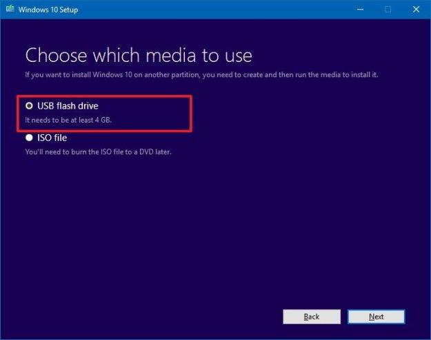 Create a bootable USB media for Windows 10 clean installation