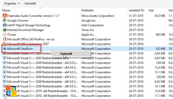Uninstall OneDrive from Windows 10