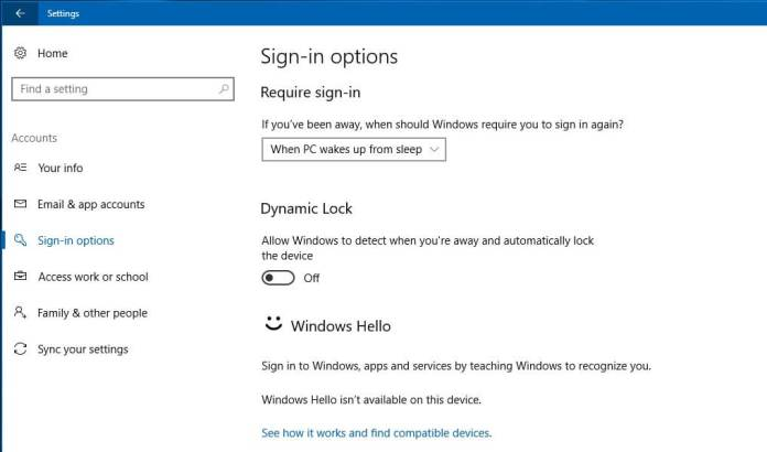 Dynamic Lock in Windows 10