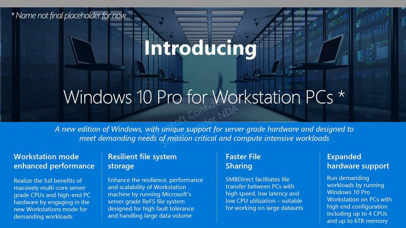 Leak Tips Windows 10 Pro for Workstation PCs Edition