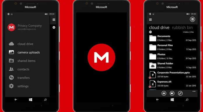 MEGA Privacy Beta for Windows 10 Mobile