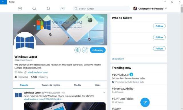 Twitter PWA for Windows 10