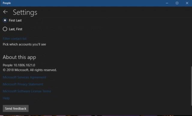 Windows 10 People app screenshot