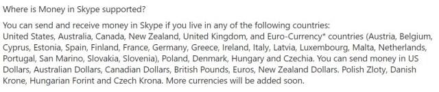 Característica de Skype Money
