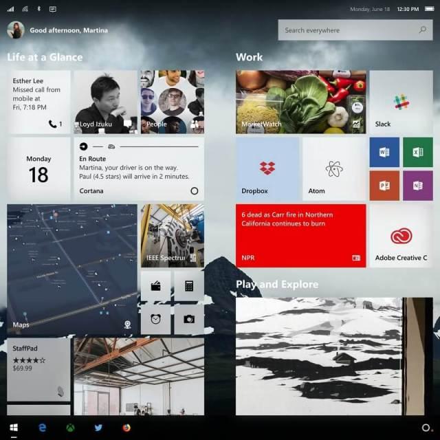 Windows Core OS start screen concept