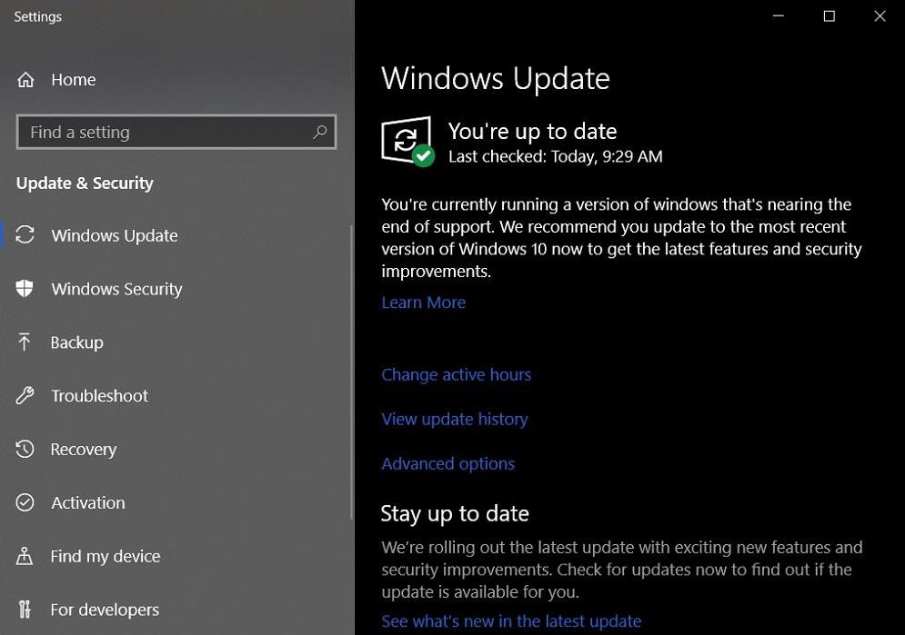 Windows 10アップデートのお知らせ