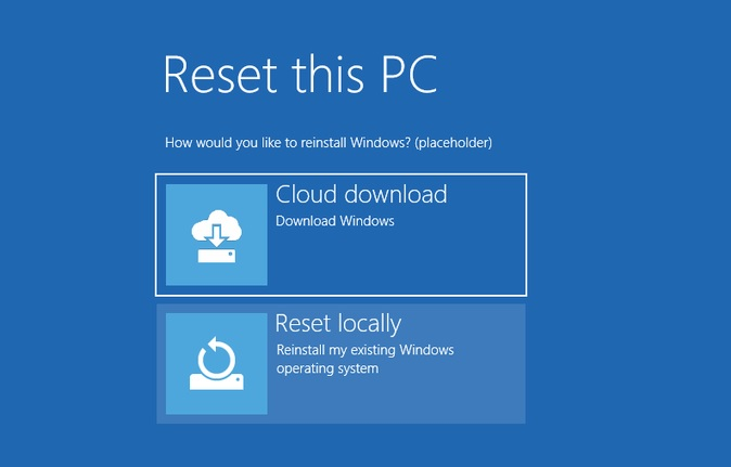 Cloud download in Windows 10