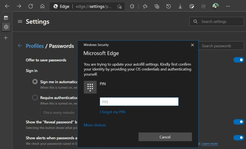 Microsoft Edge password autofill