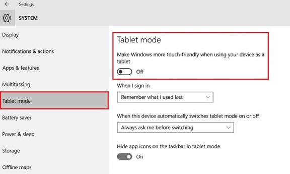 Tablet mode in Windows 10