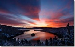 Dawn light over Emerald Bay, Lake Tahoe, California