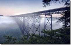 Beautiful view of the New River Gorge Bridge in West Virginia The largest Steel-Arch bridge in the Western Hemisphere.