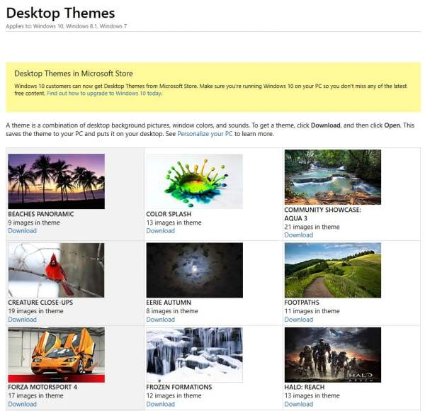 Microsoft Makes Past Featured Desktop Themes and ...