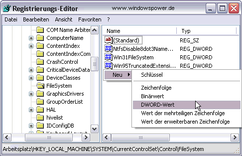 Master File Table (MTF) vergrößern - Registry /> FileSystem > NtfsMftZoneReservation