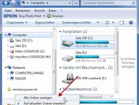 Windows 7: Papierkorb unter Computer-Arbeitsplatz anzeigen 0