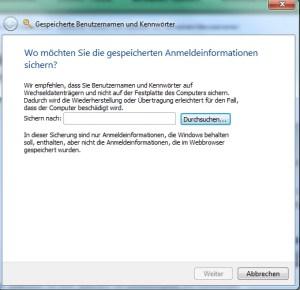 Geheimen Assistenten für Passwörter verwenden Windows 7 3