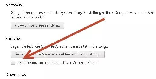 Übersetzung bei Google Chrome deaktivieren 0