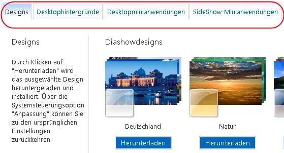 Designs Diashowdesigns Desktophintergründe SideShow-Anwendungen für Windows 7 0