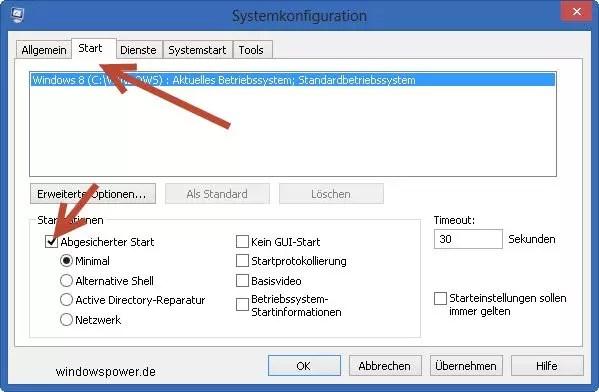 Windows 8 im abgesicherten Modus starten 1