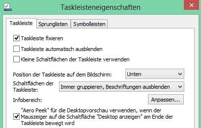 Windows 8 Infobereich anpassen, und Taskleistenposition ändern 0